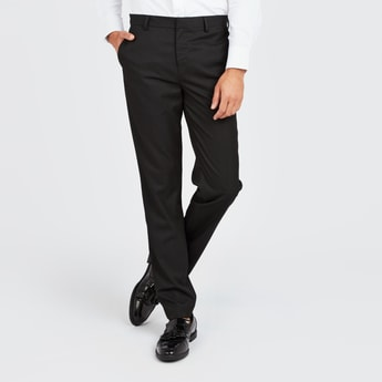Solid Formal Trousers with Belt Loops and Pocket Detail