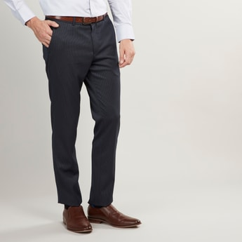 Slim Fit Full Length Textured Formal Trousers with Pocket Detail