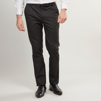 Slim Fit Striped Trousers with Button and Zip Closure