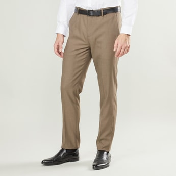 Slim Fit Textured Trousers with Pocket Detail