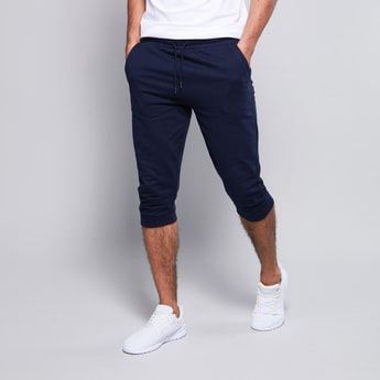 Solid Mid-Rise Joggers with Drawstring Waistband