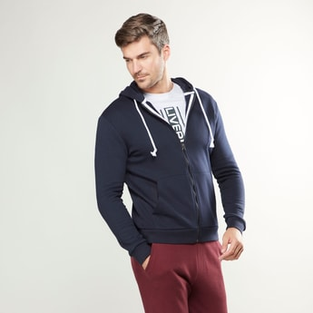 Solid Jacket with Long Sleeves and Hoodie