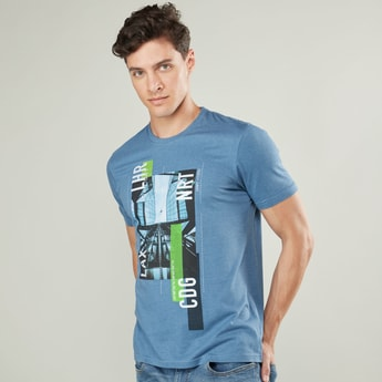 Graphic Print Crew Neck T-shirt with Short Sleeves