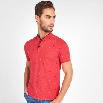Print Detail T-shirt with Mandarin Collar and Short Sleeves
