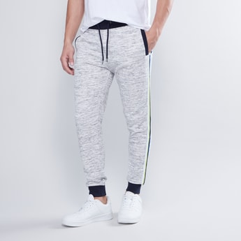 Slim Fit Textured Jog Pants with Elasticised Waistband with Pockets