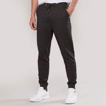 Slim Fit Plain Jog Pants with Pocket Detail and Elasticised Waistband