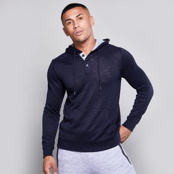 Textured Hoodie with Kangaroo Pocket and Long Sleeves