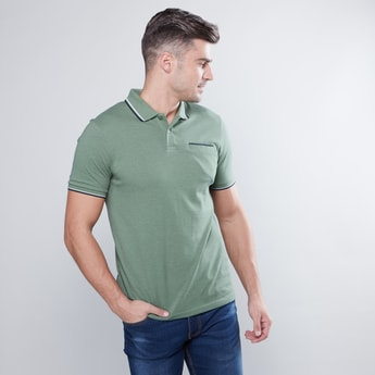 Solid Polo T-shirt with Short Sleeves and Pocket Detail