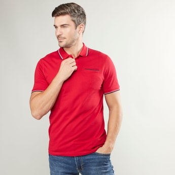 Plain T-shirt with Polo Neck and Welt Pocket