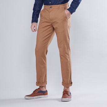 Full Length Plain Chinos with Pocket Detail and Belt Loops