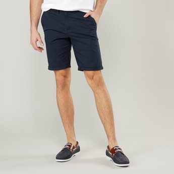 Plain Chino Shorts with Belt Loops and Pocket Detail