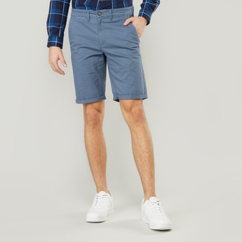 Plain Chino Shorts with Pocket Detail and Belt Loops