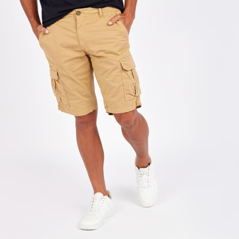 Solid Mid-Rise Cargo Shorts with Pocket Detail