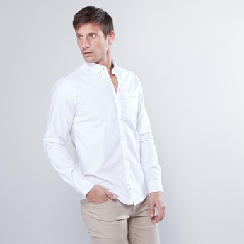 Slim Fit Plain Shirt with Long Sleeves and Pocket Detail