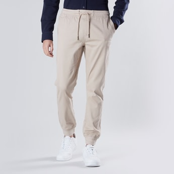Slim Fit Cuffed Joggers with Drawstring Waistband