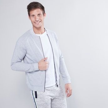 Textured Bomber Neck Sweatshirt with Long Sleeves and Zip Closure