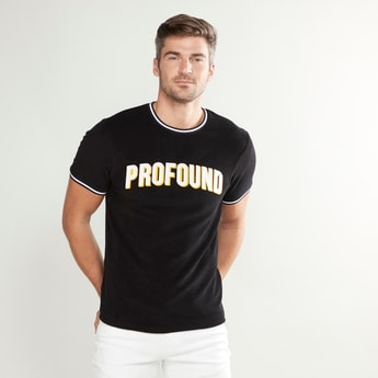 Slim Fit Text Printed Round Neck T-shirt with Short Sleeves