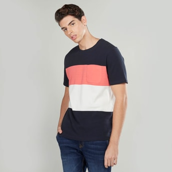 Slim Fit Colour Block T-shirt with Short Sleeves