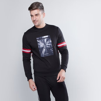 Slim Fit Printed Sweatshirt with Long Sleeves and Tape Detail