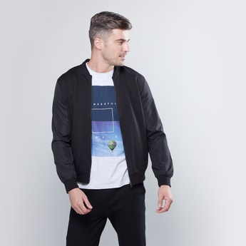 Plain Bomber Jacket with Long Sleeves and Zip Closure
