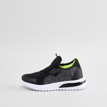 Textured Low Ankle Sneakers with Hook and Loop Closure