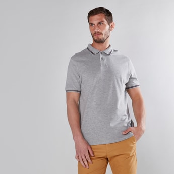 Tipping Detail Polo Neck T-Shirt in Regular Fit with Short Sleeves