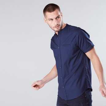 Grandad Collar Shirt with Short Sleeves and Complete Placket
