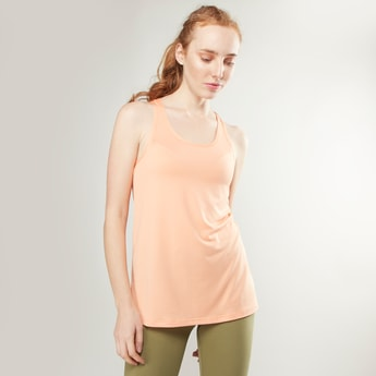 Plain Sleeveless Vest with Scoop Neck and Racerback