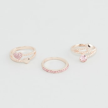 Set of 3 - Assorted Embellished Finger Ring Set