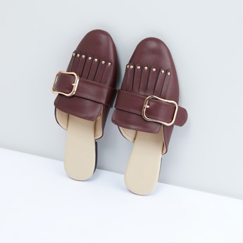 Studded Mules with Buckle and Fringe Detail