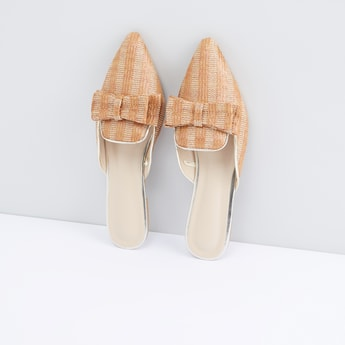Textured Mules with Bow Detail