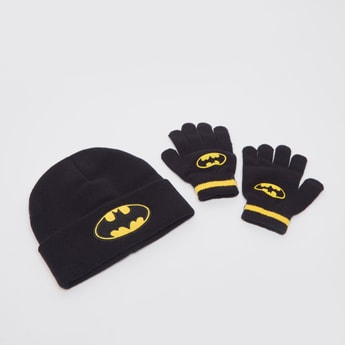 Batman Print Cap with Gloves Set