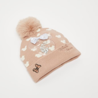 Minnie Mouse Embellished Beanie with Cuffed Hem and Pom-Pom Detail