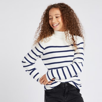 Striped Sweater with Roll Neck and Long Sleeves