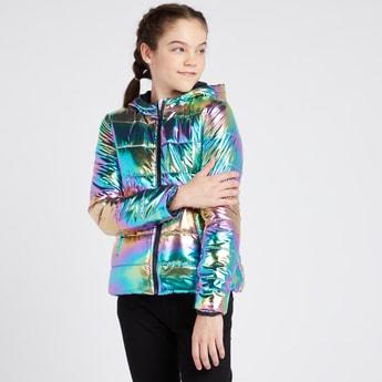 Puffed Metallic Jacket with Long Sleeves
