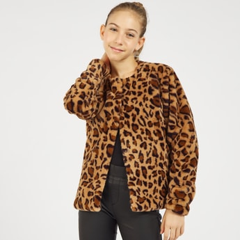 Animal Print Button-Down Jacket with Long Sleeves