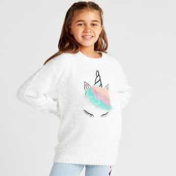 Unicorn Applique Detail Round Neck Sweater with Long Sleeves