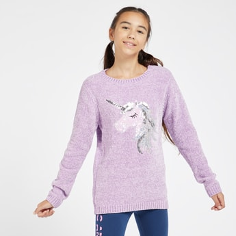 Llama Embellished Chenille Sweater with Round Neck and Long Sleeves