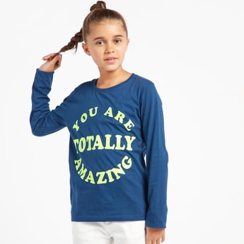 Slogan Print Round Neck T-shirt with Long Sleeves