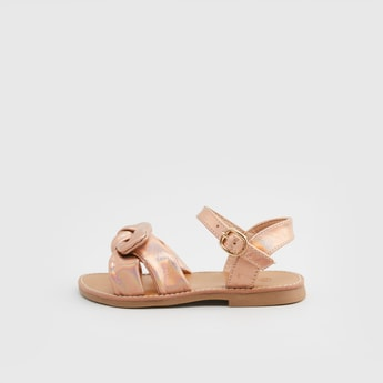 Solid Sandals with Buckle Closure and Bow Detail