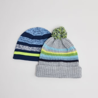 Set of 2 - Striped Beanie Caps
