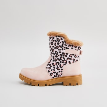 Animal Print High Top Boots with Plush Detail and Zip Closure