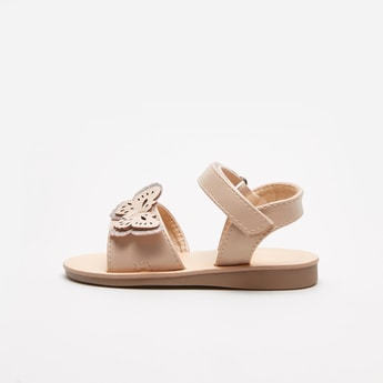 Open Toe Sandals with Cutwork Appliques