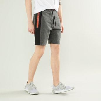 Printed Colourblocked Shorts with Drawstring Closure