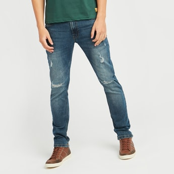Slim Fit Distressed Jeans with Pocket Detail and Belt Loops
