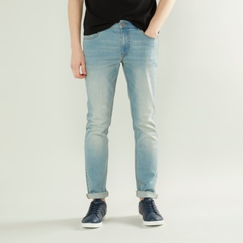 Fashion Washed Skinny Fit Jeans with 5-Pockets and Button Closure