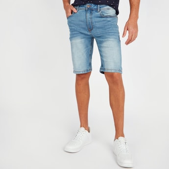 Slim Fit Mid Rise Denim Shorts with Pocket Detail