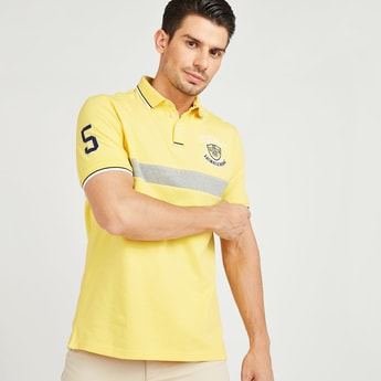 Textured Polo T-shirt with Stripe Detail and Short Sleeves