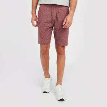 Textured Mid-Rise Shorts with Pocket Detail and Drawstring
