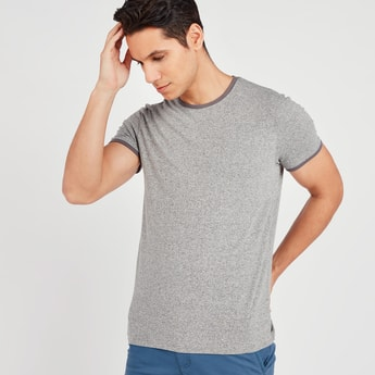 Melange Print T-shirt with Round Neck and Short Sleeves